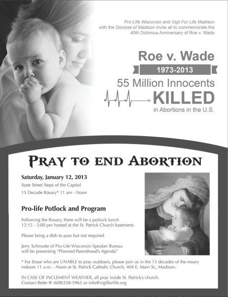 Roe v Wade 40th Dolorous Anniversary