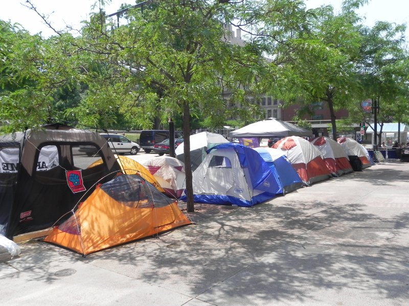 Largest block of 15 (empty) tents