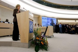 U.S. Secretary of State Clinton addresses the high level segment of the 16th session of the Human Rights Council at the United Nations European headquarters in Geneva