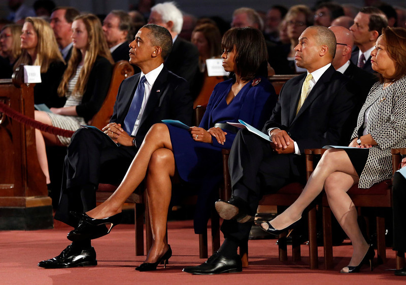U.S. President Barack Obama and first lady Michelle Obama attend an interfaith memorial service at the Cathedral of the Holy Cross for the victims of the Boston Marathon bombing in Boston