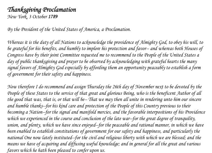 Thanksgiving Proclamation Text 1